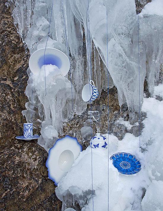 Blauweiß Eiswasserfall
